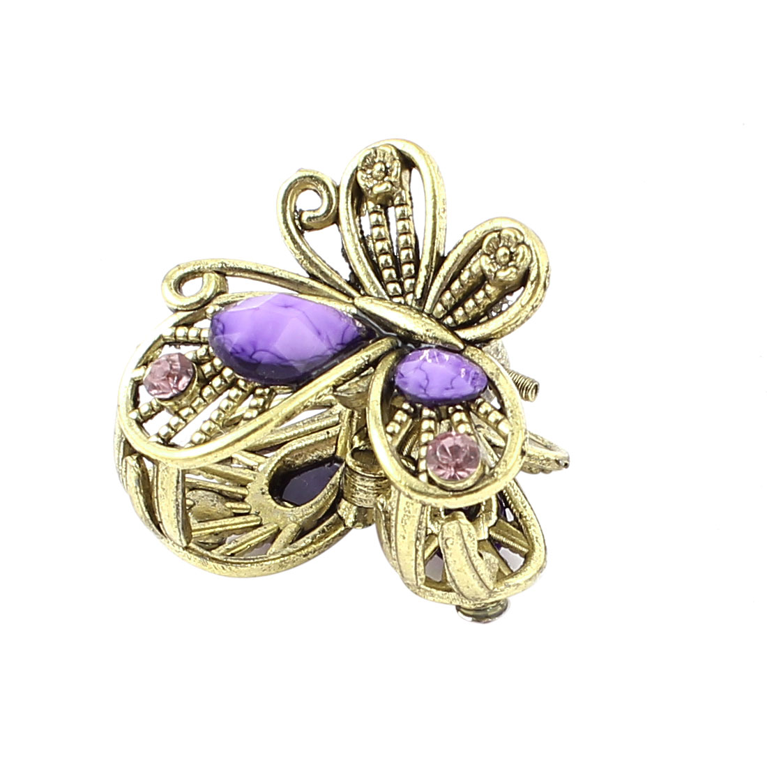 Bronze Tone Butterfly Plastic Crystal Decor Hairclip Clamp Clip Claw Pin Purple