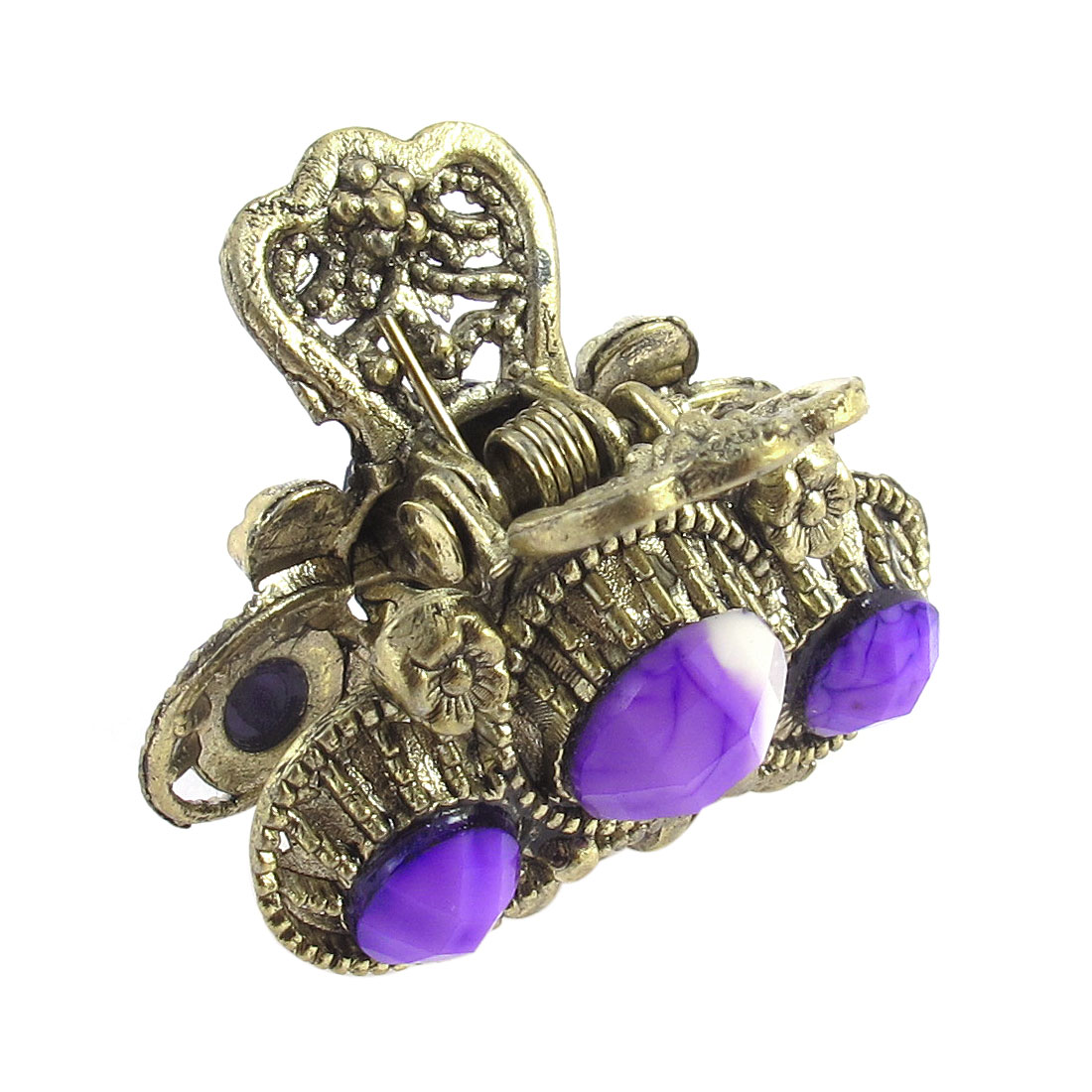 Lady Purple Faux Gemstone Detail Bronze Metal Claw Hair Clamp Clip Hairpin