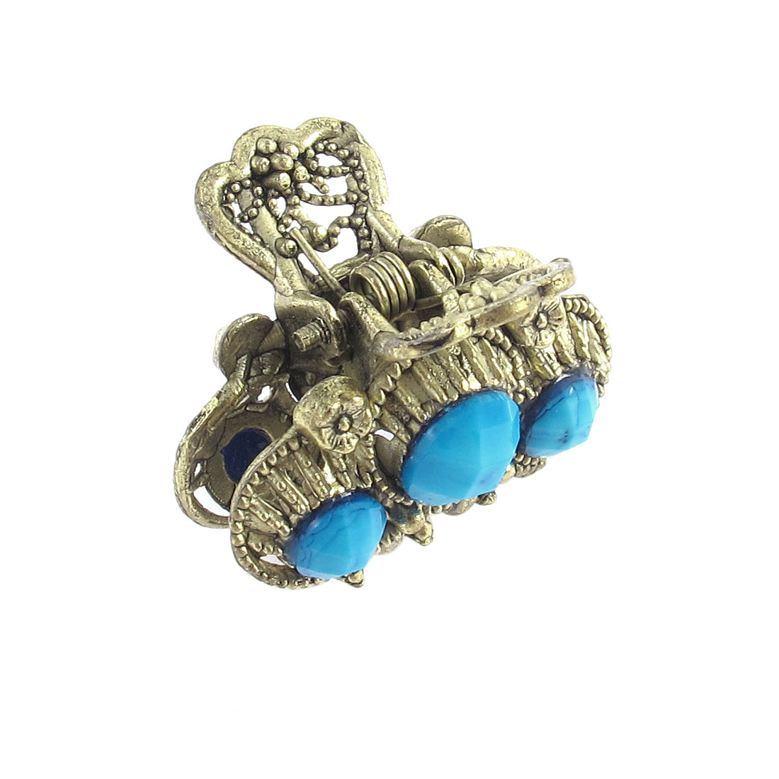 Lady Blue Faux Gemstone Detail Bronze Metal Claw Hair Clamp Clip Hairpin