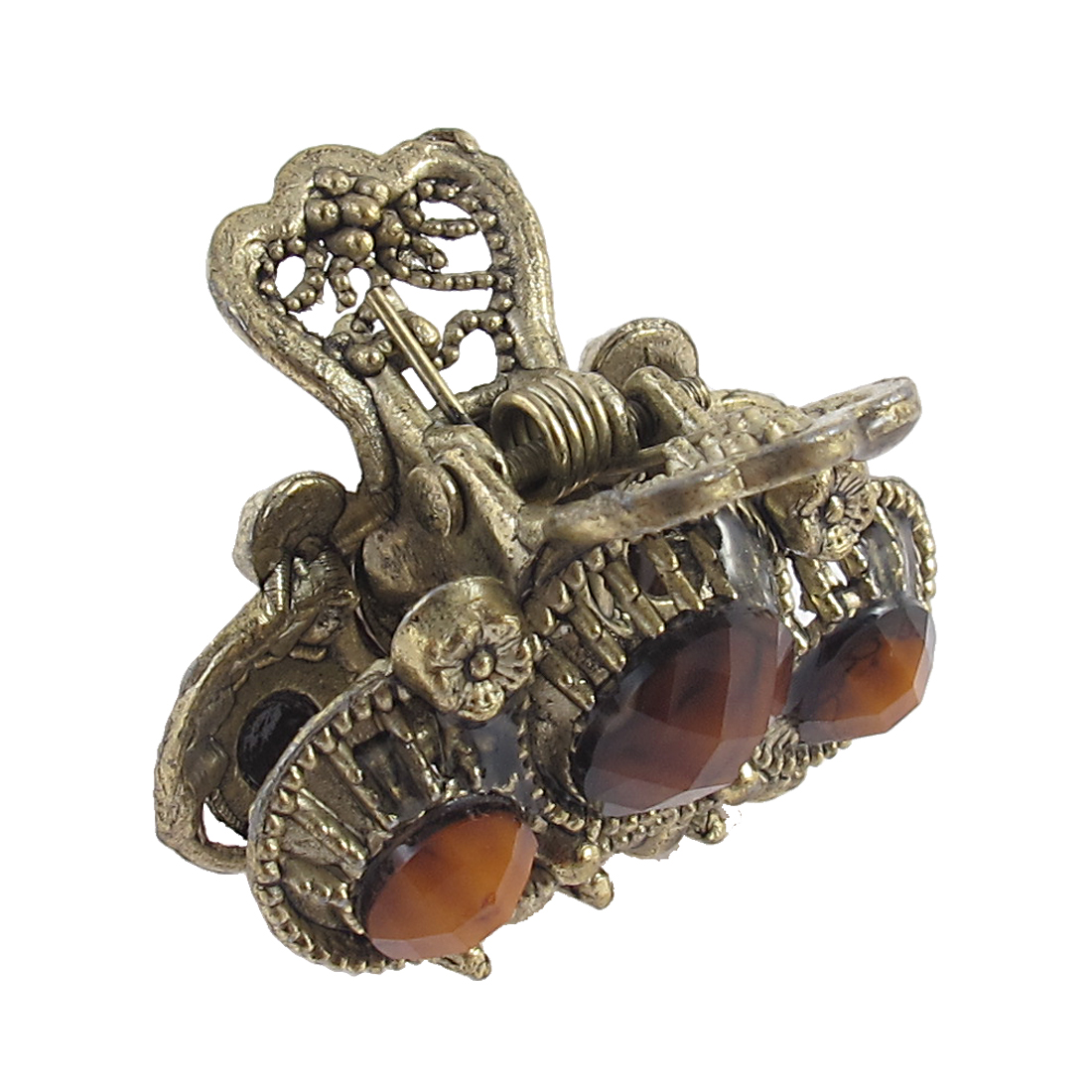 Lady Coffee Color Faux Gemstone Detail Bronze Tone Metal Claw Hair Clamp Clip