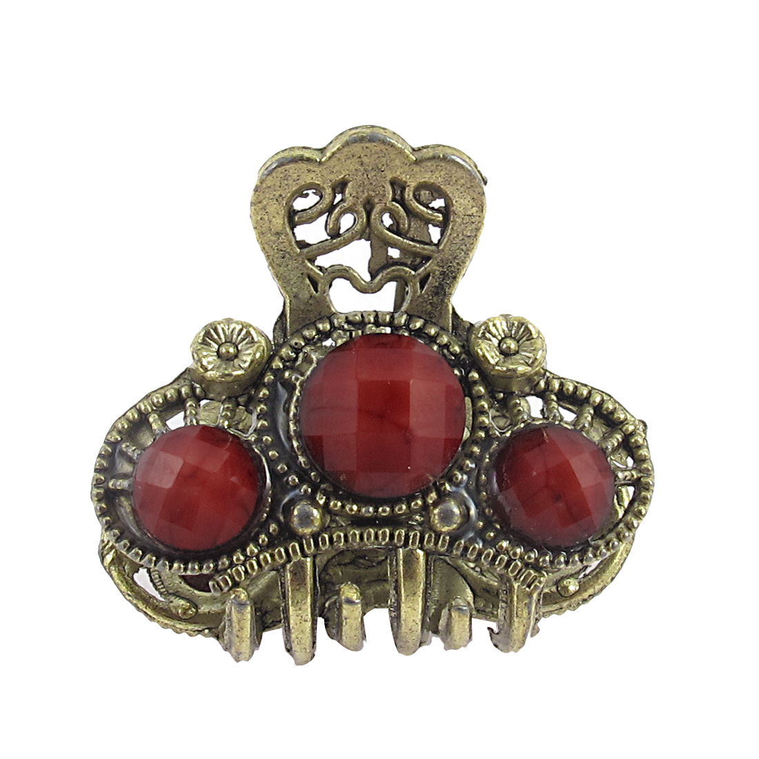 Lady Red Faux Gemstone Detail Bronze Tone Metal Claw Hair Clamp Clip