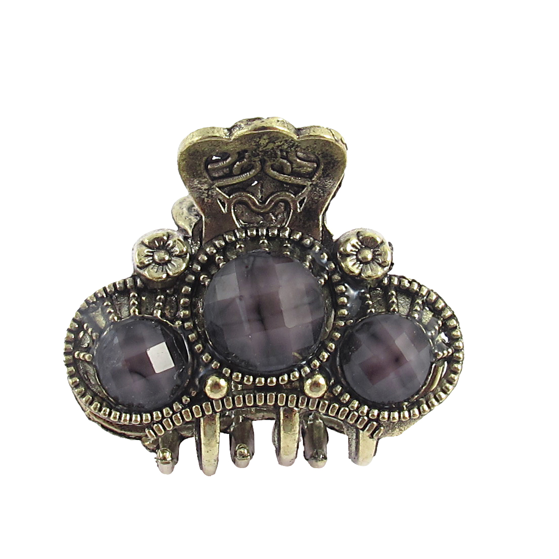 Lady Gray Faux Gemstone Detail Bronze Tone Metal Claw Hair Clamp Clip
