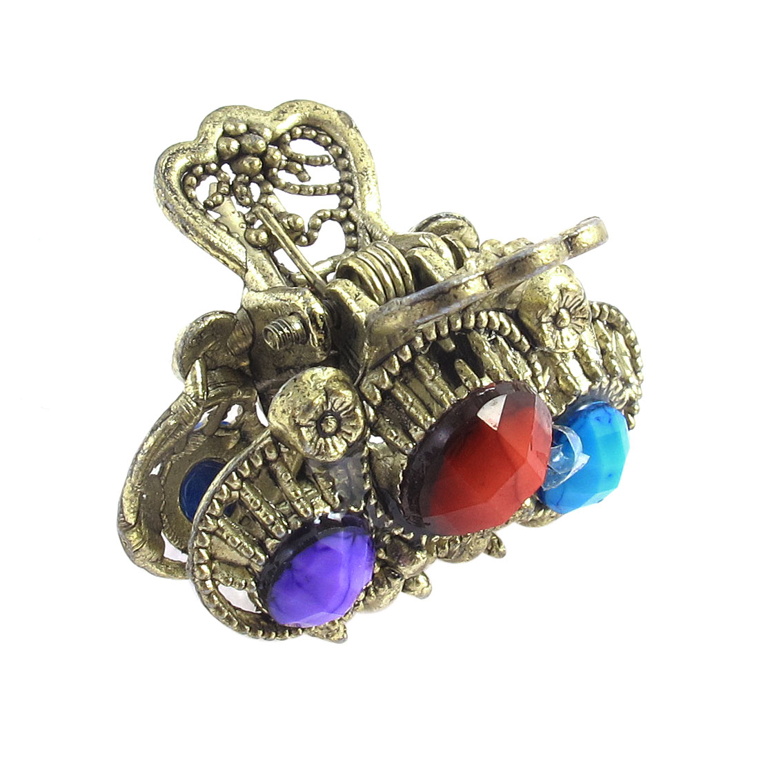 Lady Multicolor Faux Gemstone Detail Hair Clamp Claw Clip Hairpin
