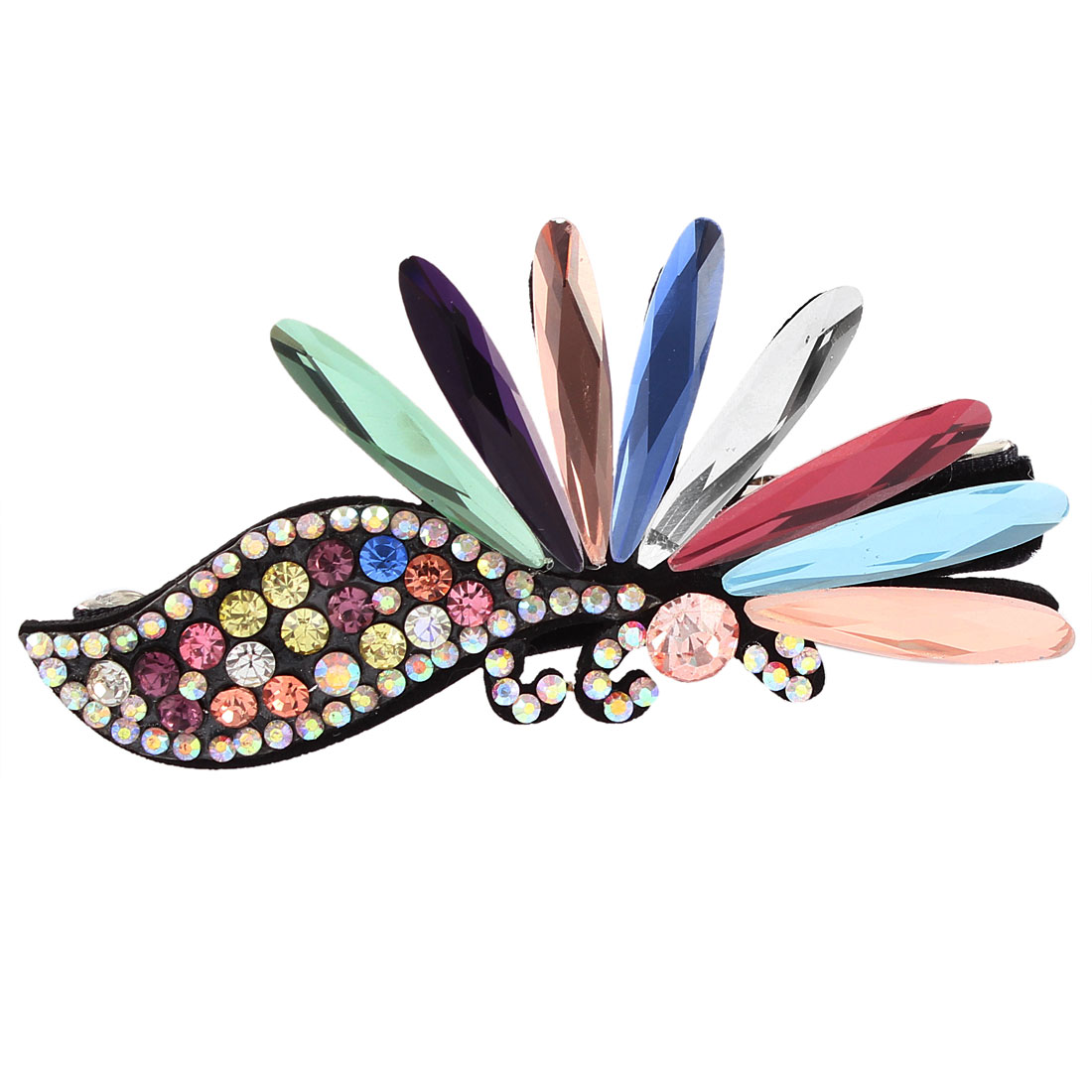 Metal Multi-Color Rhinestone Flower Shape Lady Hair Clip Hairpin