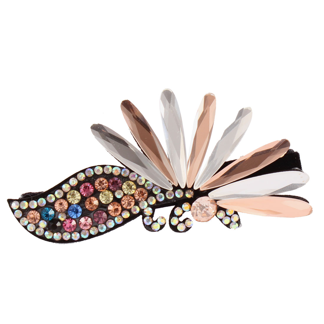 Metal Rhinestone Women Floral Teeth Hair Barrette Hairclip Colorful