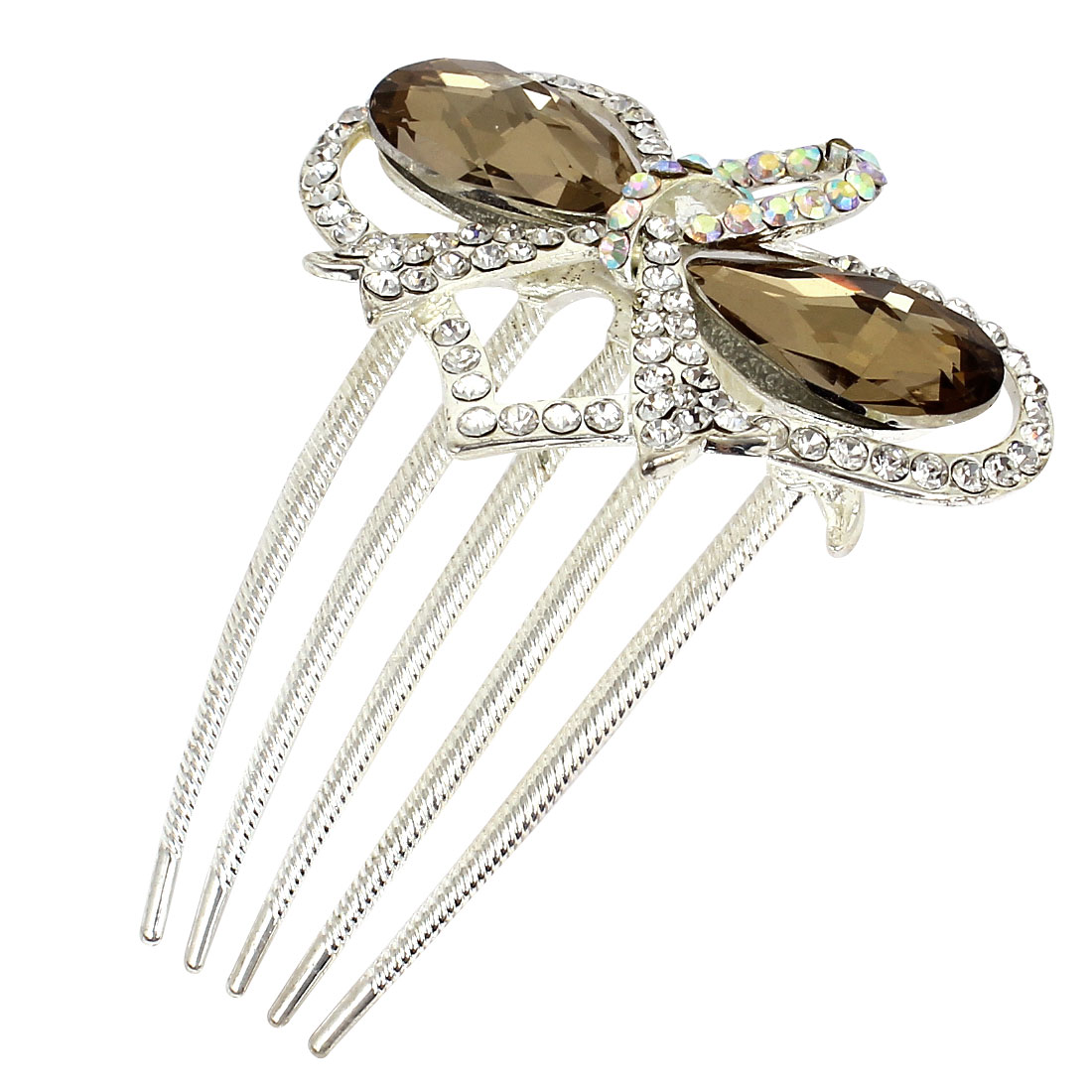 Wedding Bowknot Shape Plastic Crystal Decor Hair Comb Slide Clip Brown