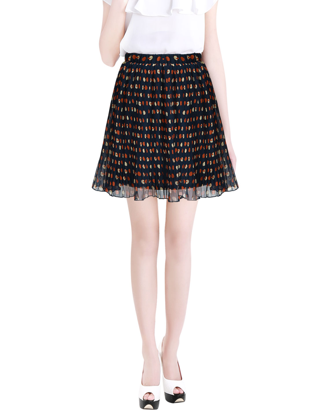 Ladies High Waisted Dots Print Fully Lined Mini Pleated Skirt Navy Blue Ochre XS