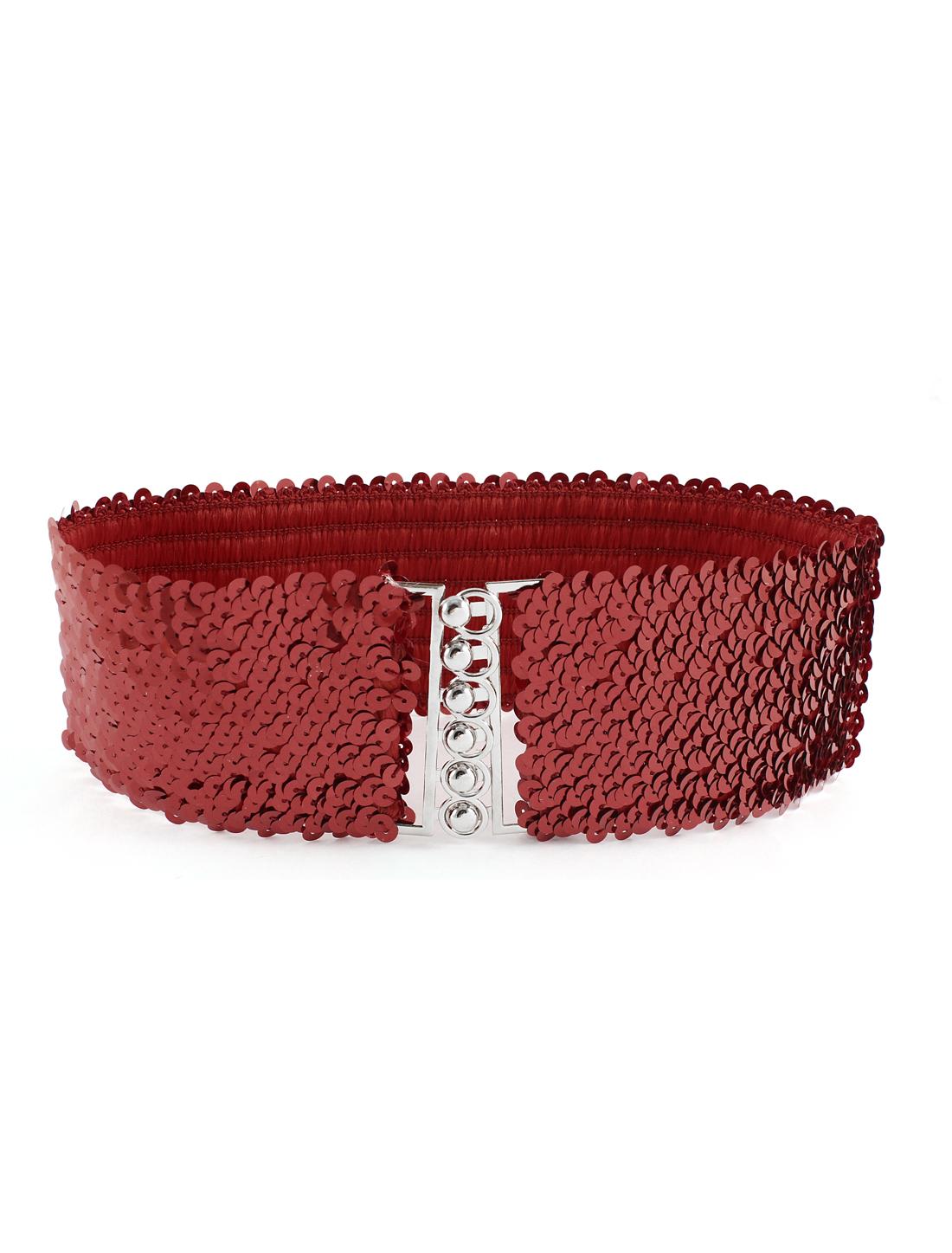 Lady Metal Buckle Paillette Link Detail Stretch Wide Cinch Waist Belt Red