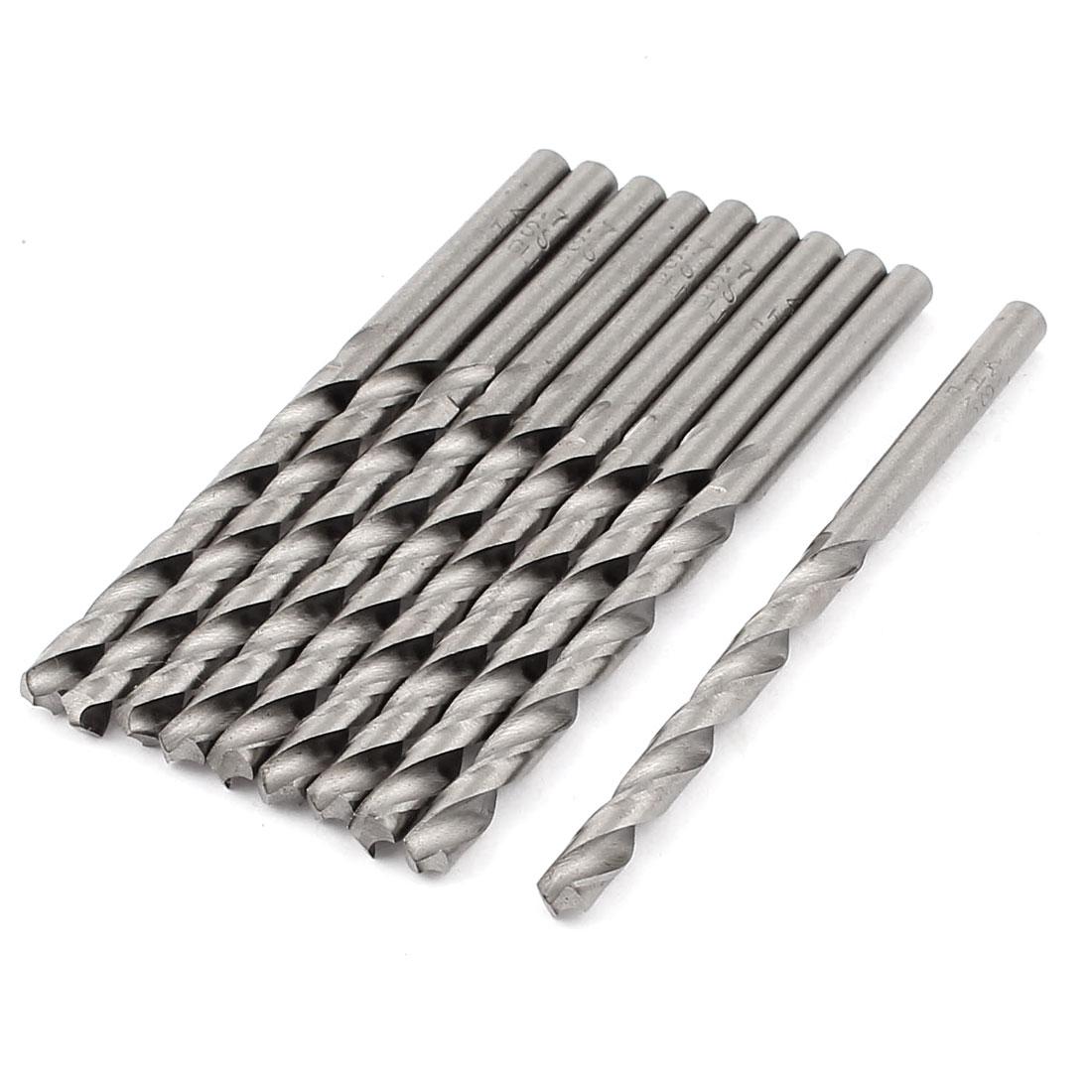 10Pcs 4.7mm x 55mm Straight Shank HSS Woodworking Twist Drill Bit