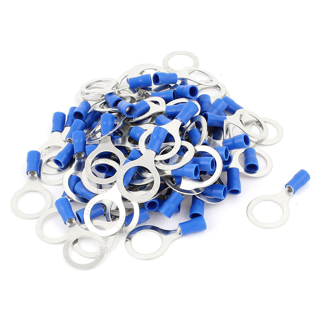 80 Pcs PVC Pre-Insulated Ring Crimp Electric Cable Terminals Connector Splice AWG 2-12 Blue