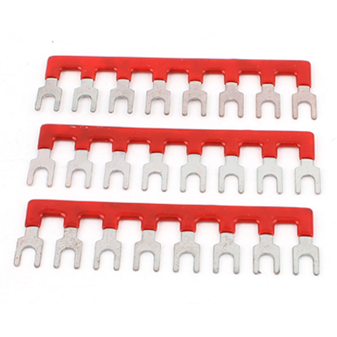 3 Pcs 400V 10A 8 Postions Red Pre Insulated Terminal Barrier Stripes
