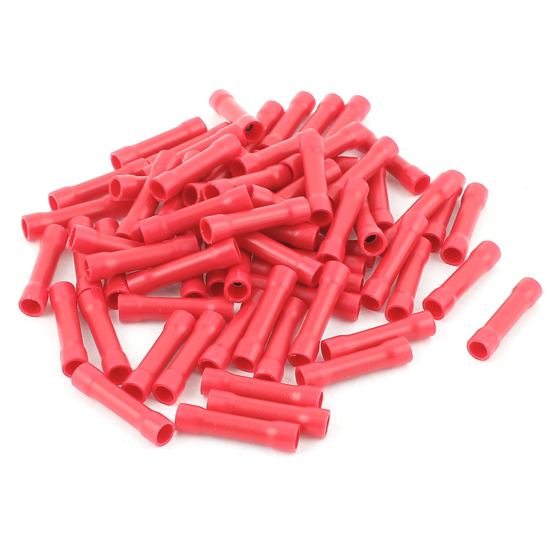 70 Pcs 4.3mm Dia 22-16AWG Dual Ends Red Plastic Fully Insulated Female Crimp Wire Connecting Terminal