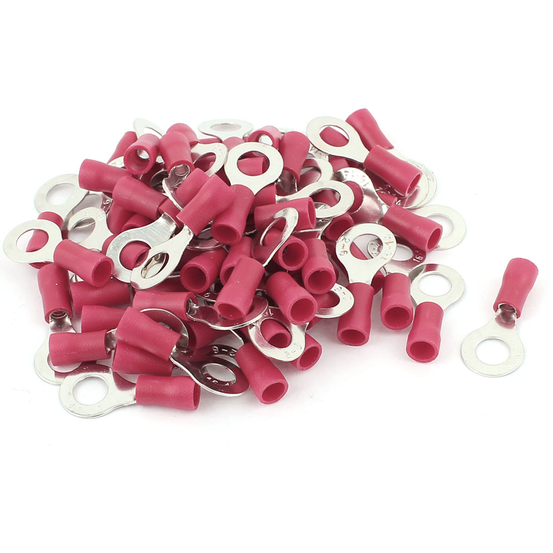 60 Pcs PVC Insulated Ring Crimp Electric Cable Terminals Connector AWG 16-14 Red