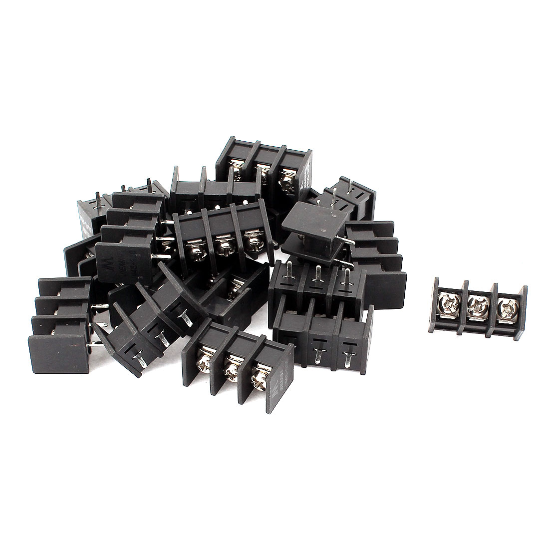 20 Pcs 8.02mm Pitch 3P PCB Black Screw Terminal Block Connector 300V 25A
