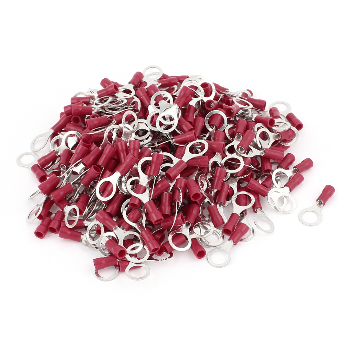 300 Pcs PVC Insulated Ring Crimp Electric Cable Terminals Connector Splice AWG 22-16 Red