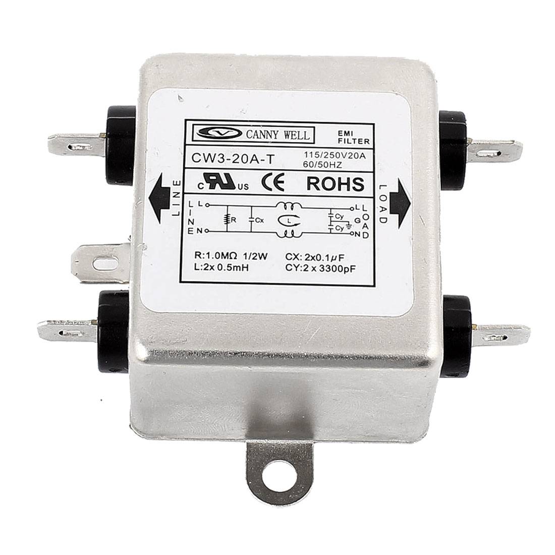 CW3-20A-T AC 115/250V 20A 4-Pin Soldering Metal Case Single Phase Noise Suppressor General Purpose Power EMI Filter