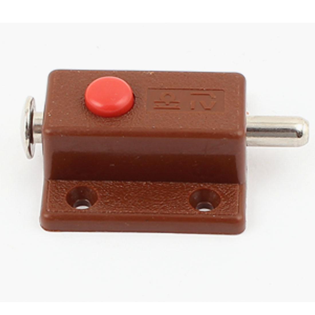 Button Control Gate Cupboard Door Security Latch Lock Brown Automatic Barrel Bolt