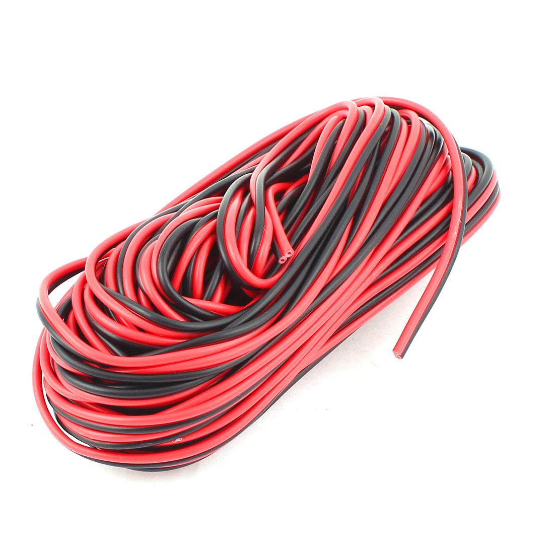 Indoor Outdoor Plastic Insulated Multicore Electrical Wire Cable Black Red 15M 49Feet