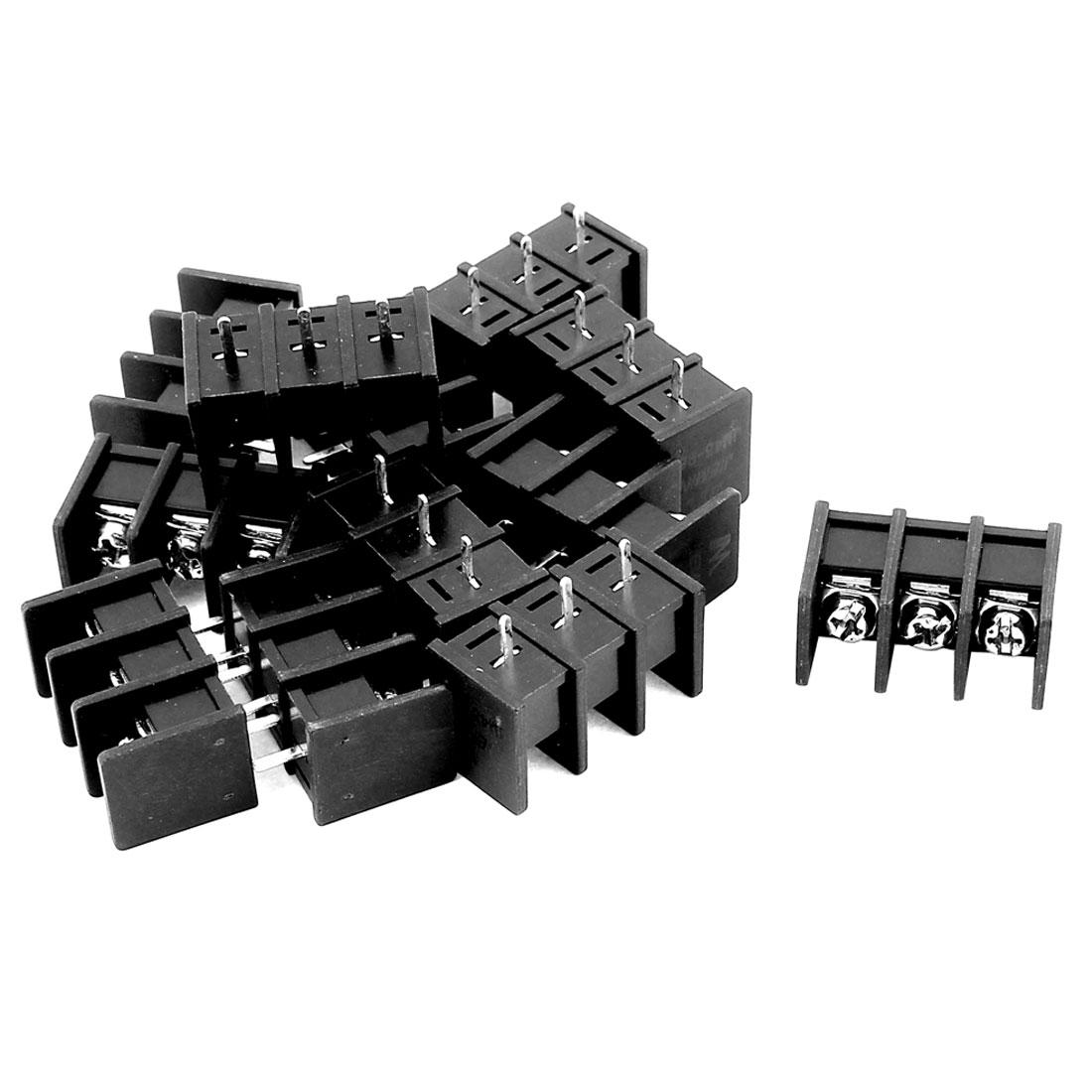 12 Pcs 3P PCB Black Screw Terminal Block Connector 300V 25A