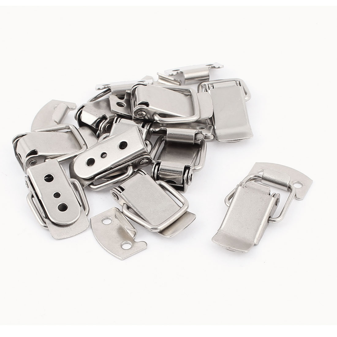 10 Pcs Suitcase Spring Loaded 38 x 20 x 8mm Metal Draw Loop Latch Silver Tone