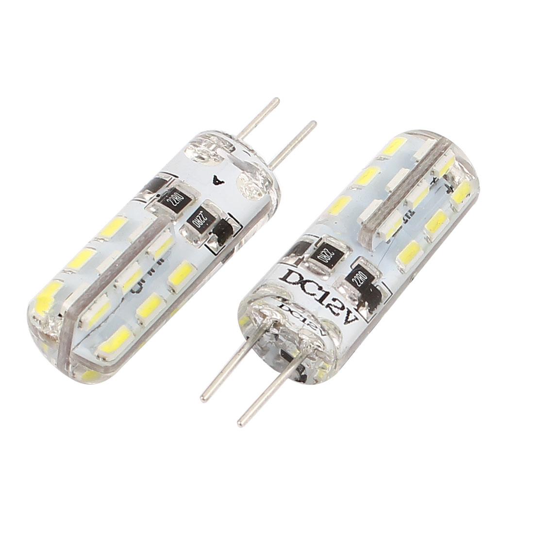 5pcs DC 12V G4 24 3014 SMD LED Dome Light Bulb Corn Lamp Cool White