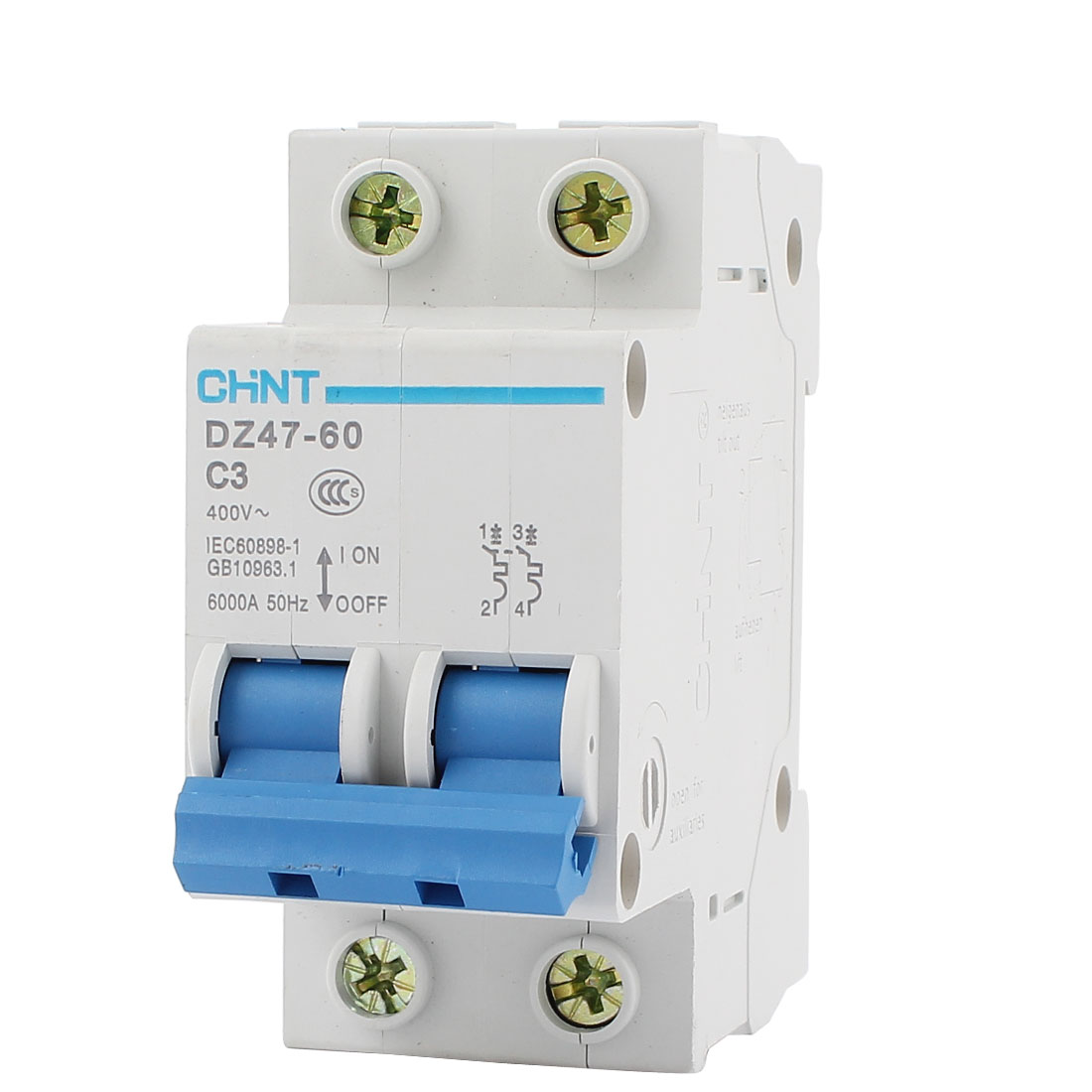 DZ47-63 C3 2 Pole Mini Circuit Breaker 35mm DIN Rail Mount Overload Protection