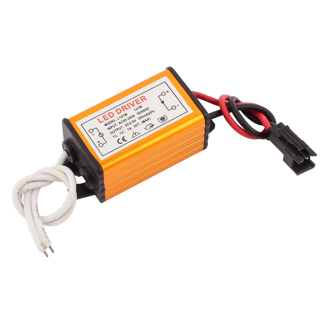 1x1W AC 85V-265V to DC 2V-5V 300mA Power Supply Driver for LED Light