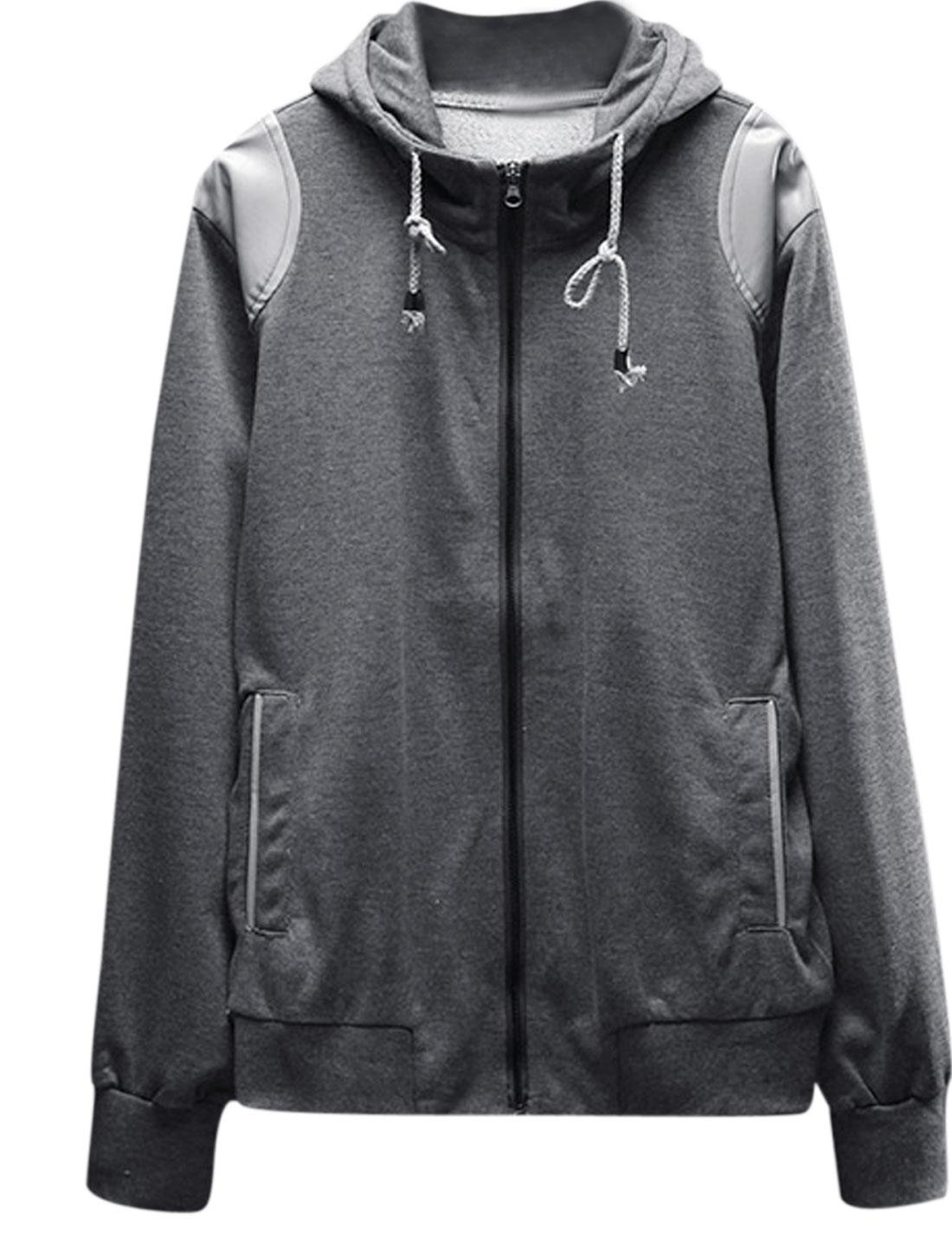 Men Zip Up Panel Long Sleeve Front Pockets Casual Hoodie Jacket Dark Gray S