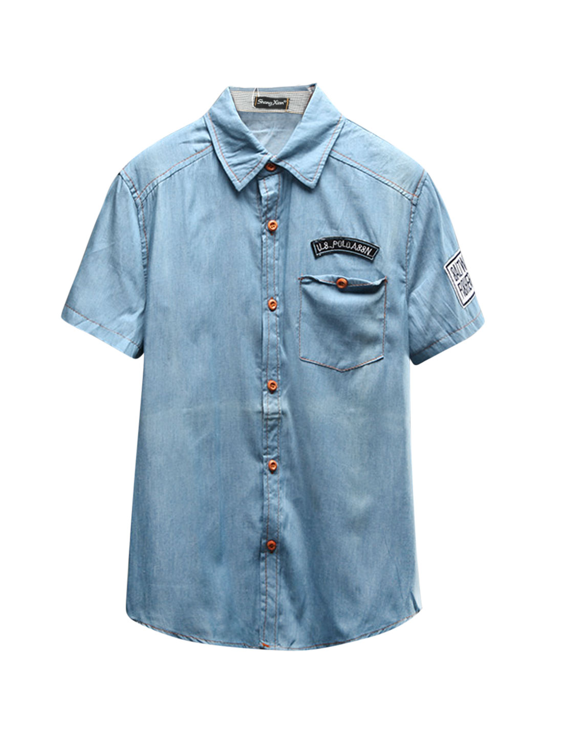 Man Numbers Letters Stitching One Chest Pocket Denim Casual Shirt Light Blue S