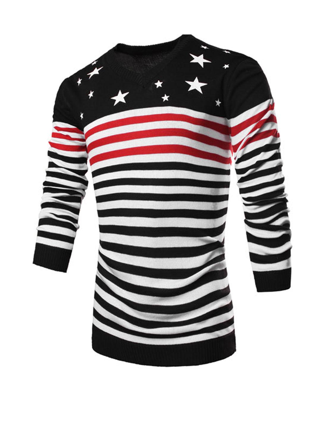 Men V Neck Long Sleeve Stripes Stars Print Pullover Knit Shirt Black Red M