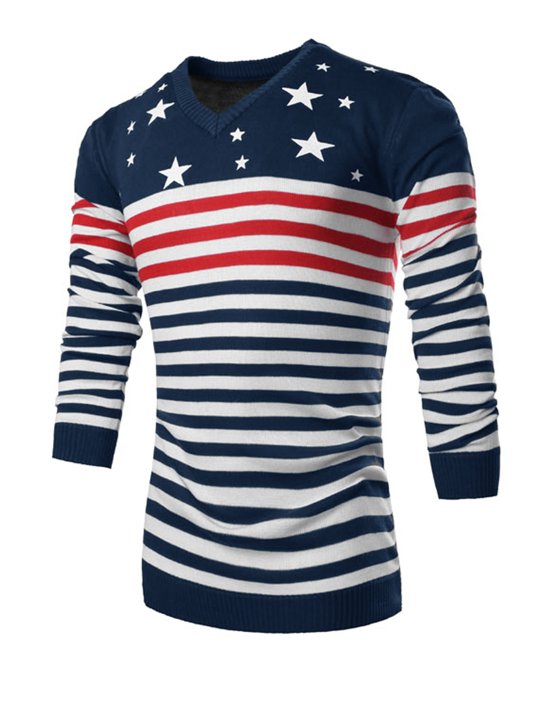 Men Pullover Long Sleeve Stripes Stars Print Knit Shirt Navy Blue Red M