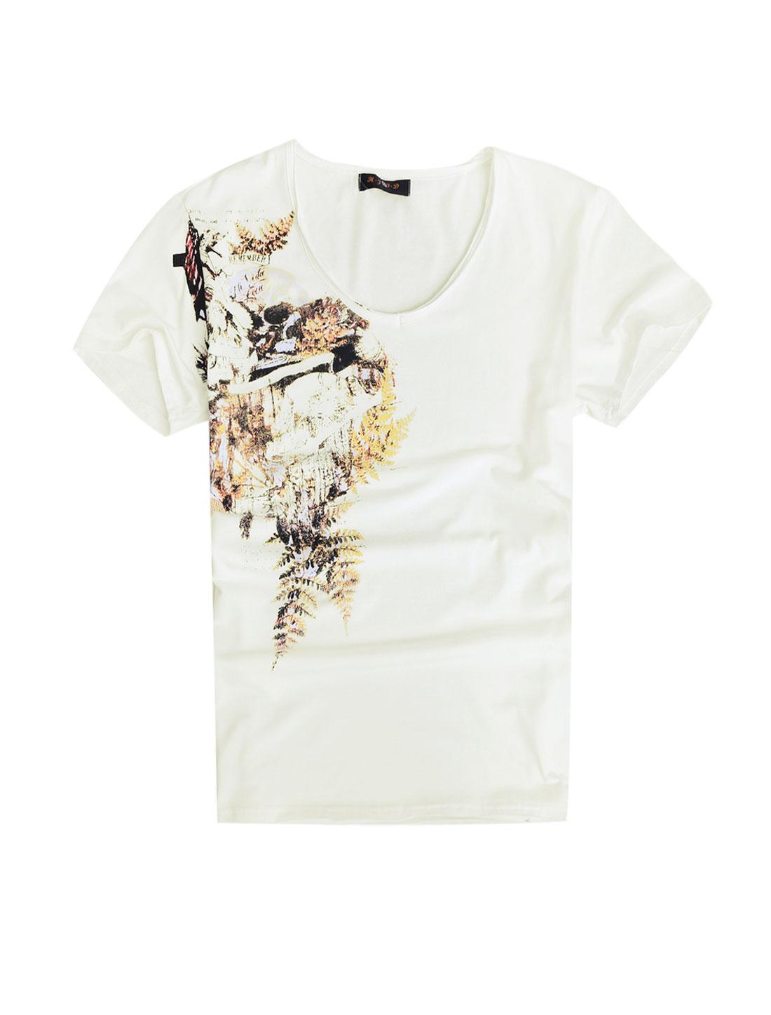Men Short Sleeve V Neck Novelty Print T-Shirts White M