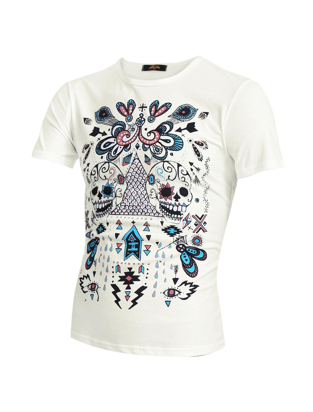 Men Short Sleeve Round Neck Novelty Skull Print Casual T-Shirts White M