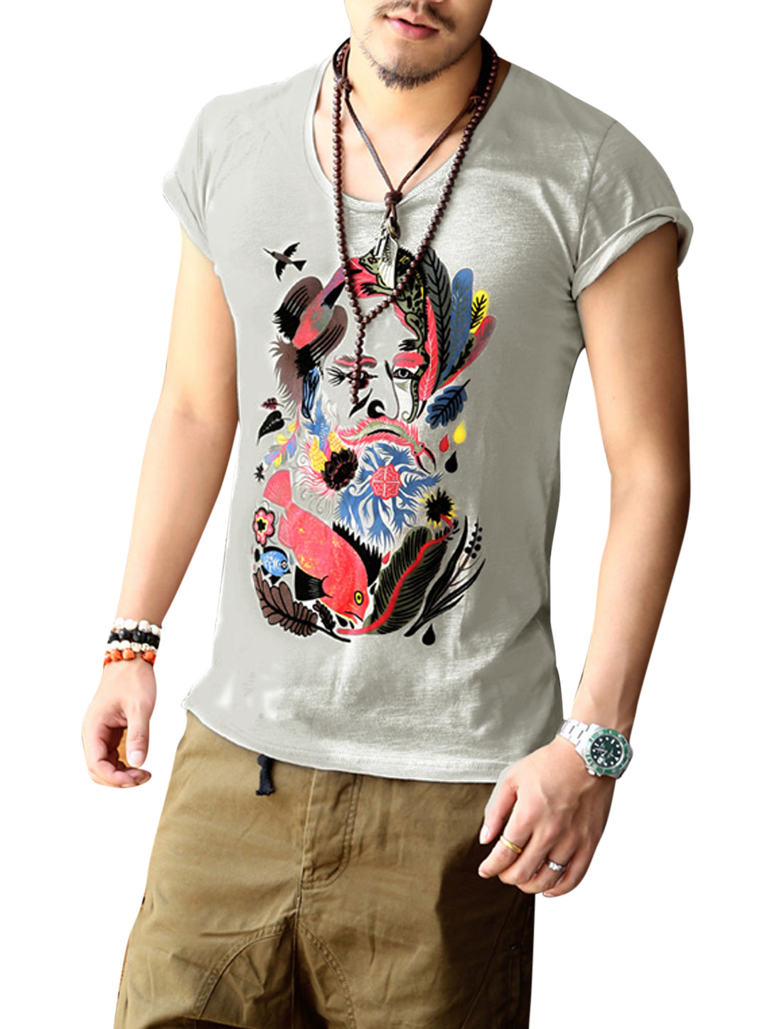 Men Short Sleeve Animal Plant Print Casual T-Shirts Gray M