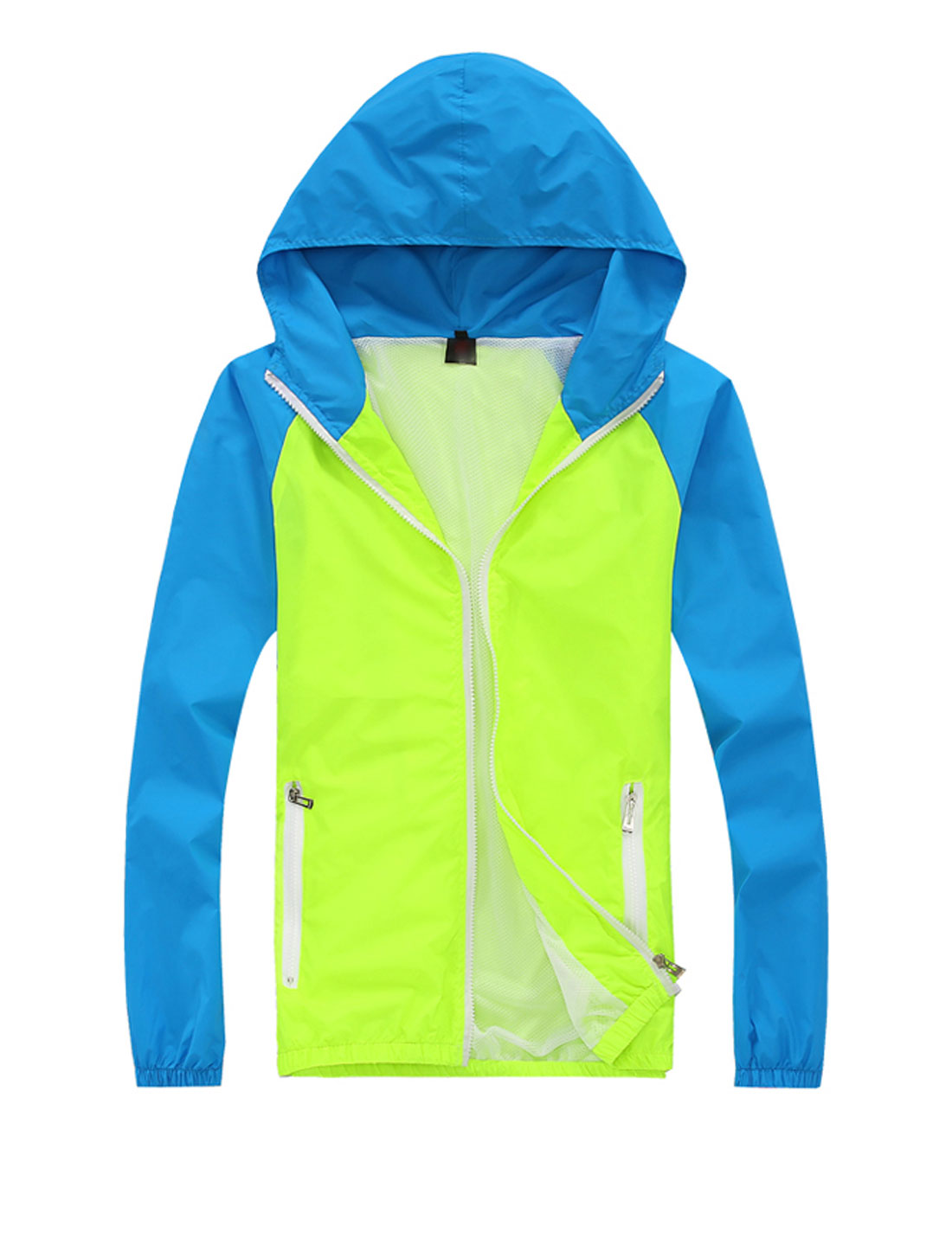 Man Contrast Color Raglan Sleeve Casual Hooded Windbreaker Fluorescent Green Blue M