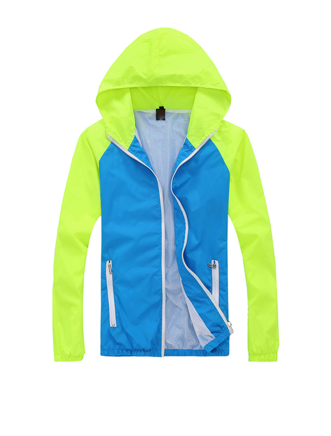 Man Contrast Color Zip Closure Hooded Windbreaker Green Yellow Blue M