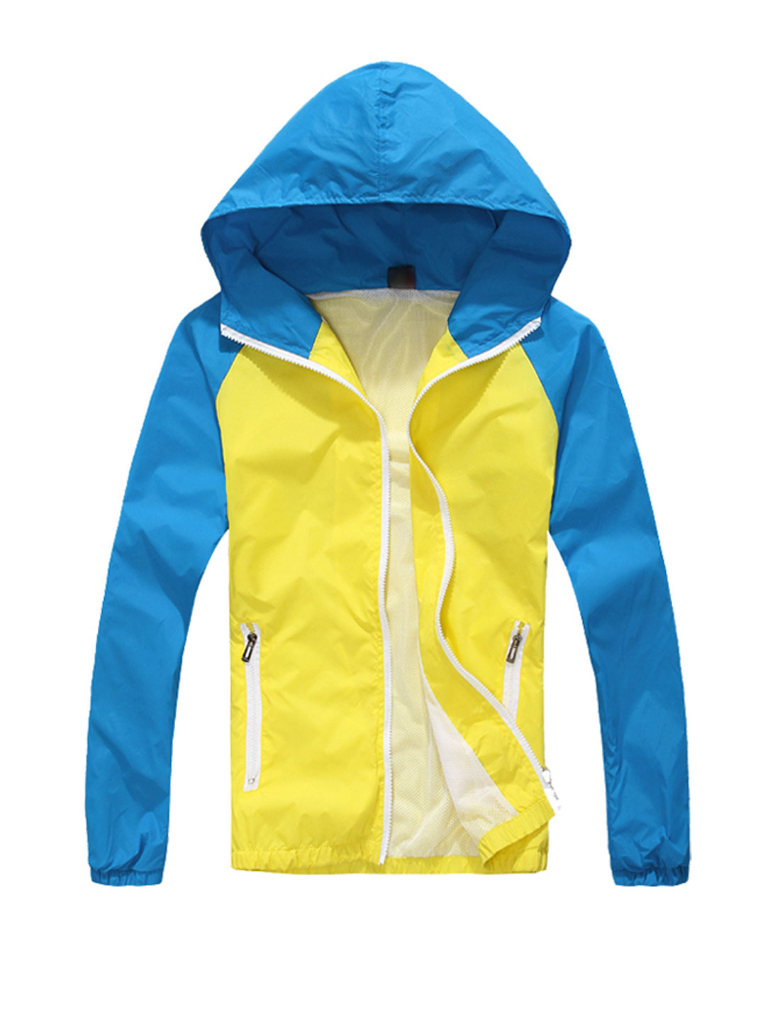 Man Contrast Color Long Sleeves Zip Up Casual Hooded Windbreaker Yellow Blue M