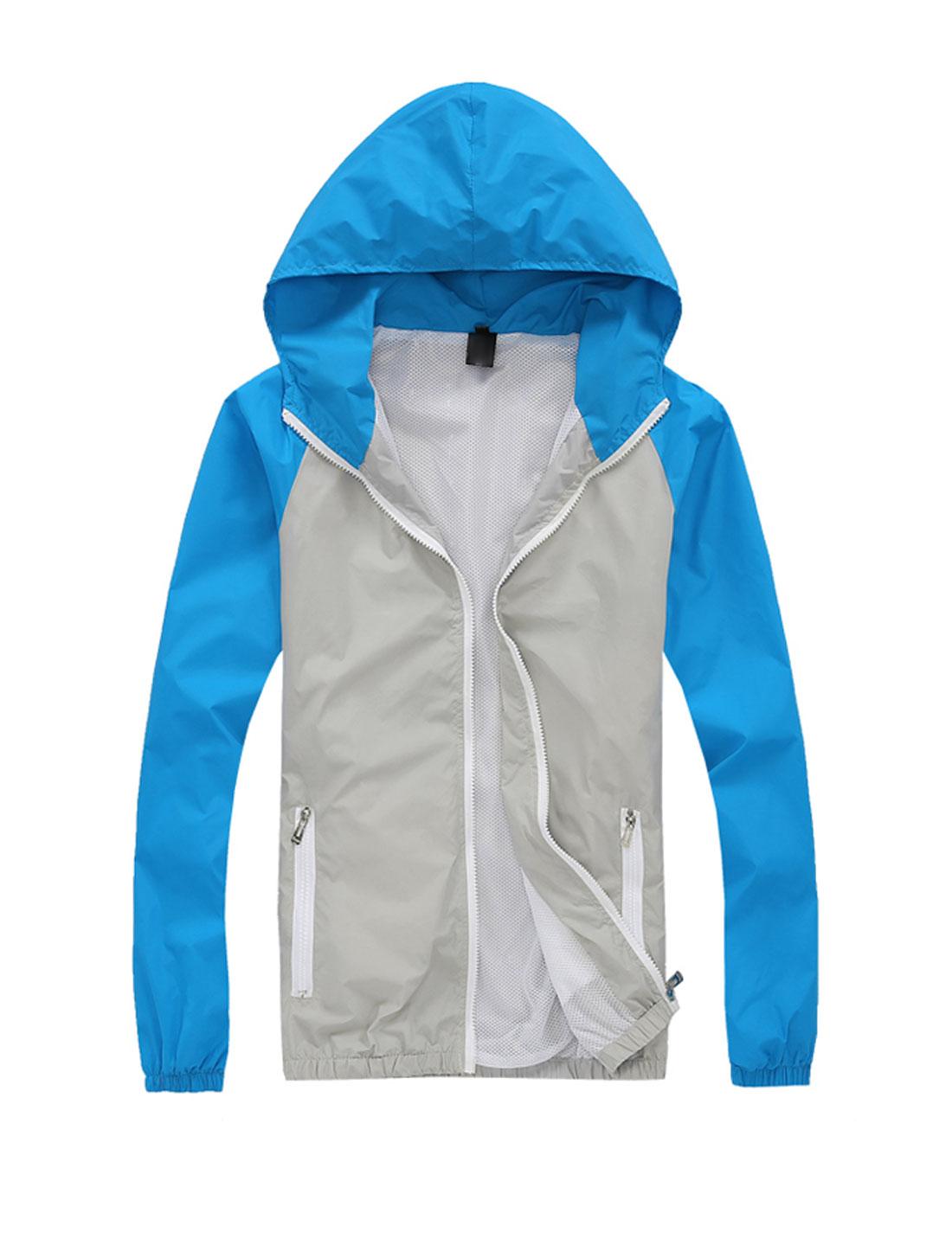 Man Contrast Color Long Raglan Sleeves Casual Hooded Windbreaker Light Gray Blue M