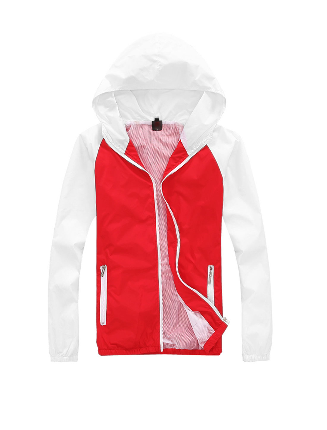 Man Contrast Color Zip Up Leisure Hooded Windbreaker Red White M