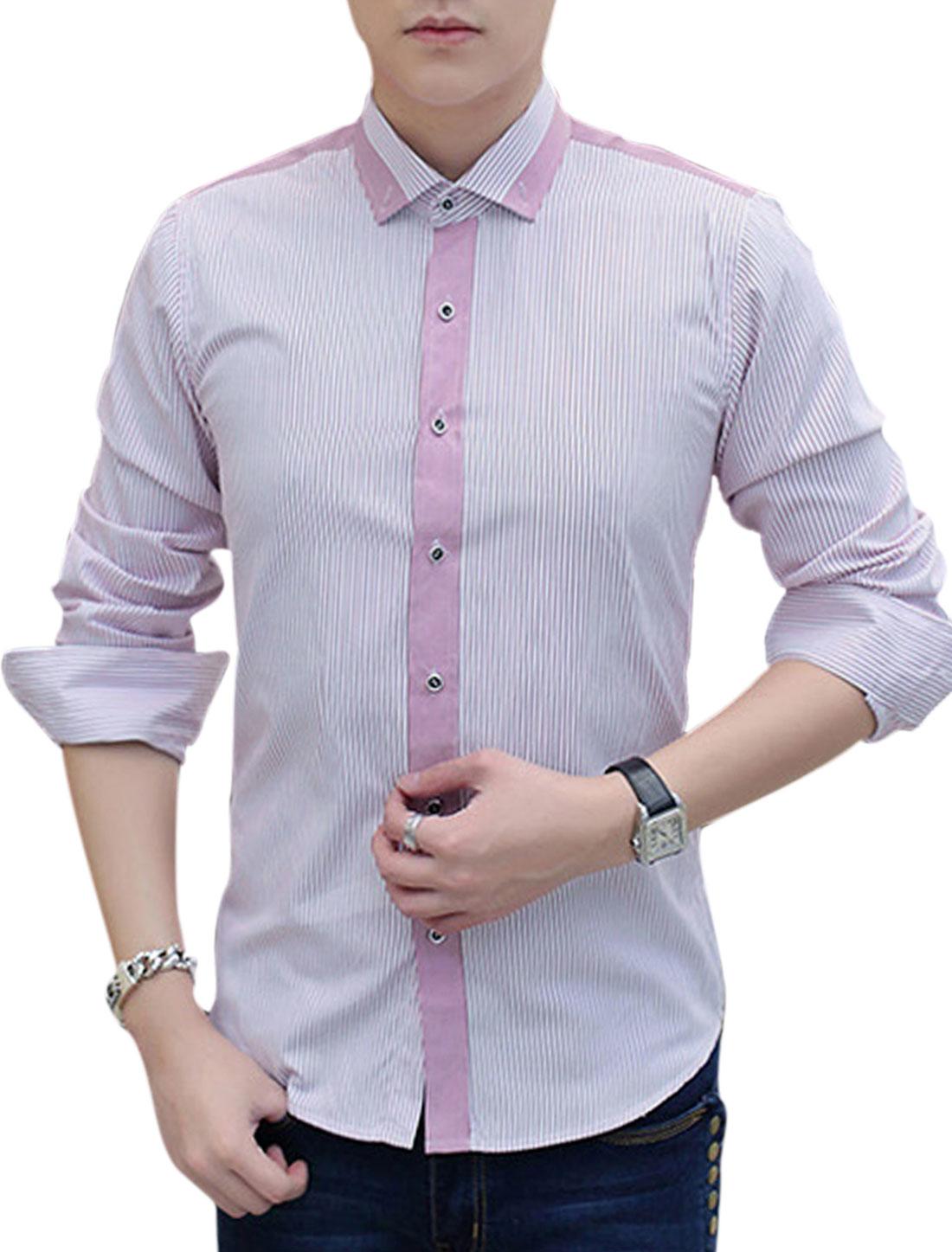Men Button Down Long Sleeve Point Collar Stripes Print Shirts Purple White M