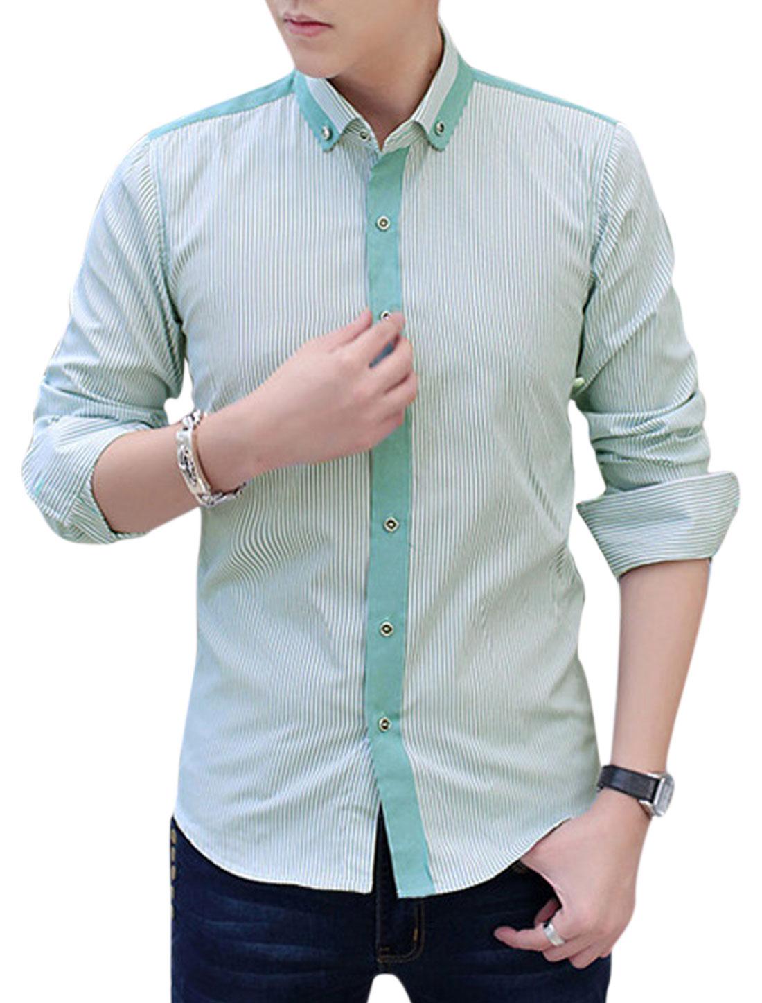 Men Button Down Long Sleeve Stripes Print Shirts Green White M