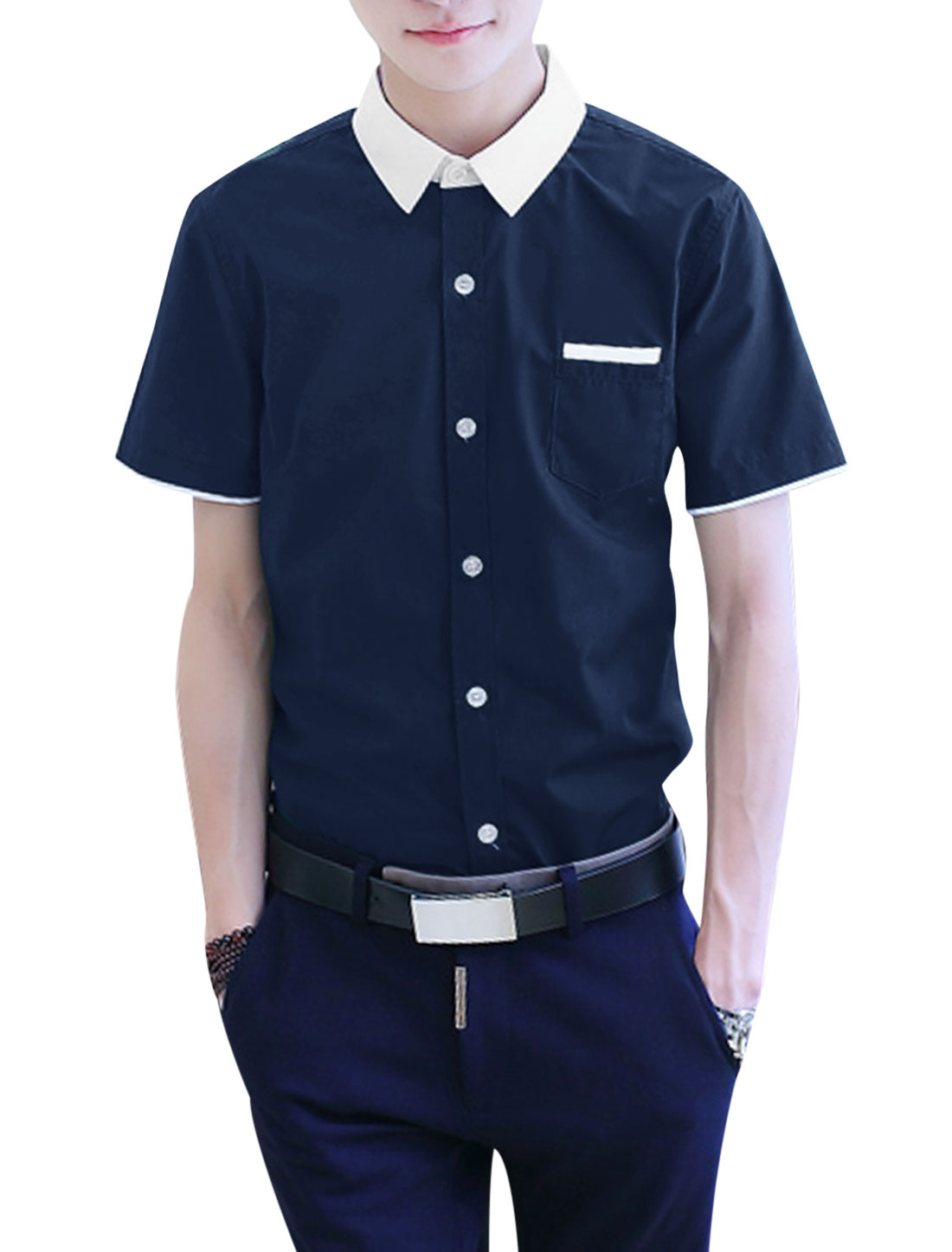 Men Button Down Pocket Short Sleeve Slim Fit Casual Shirts Navy Blue M