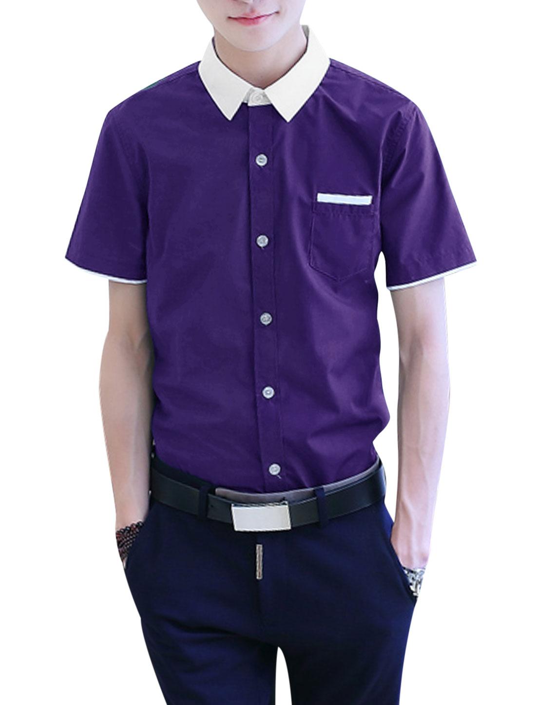 Men Button Down Pocket Point Collar Slim Fit Casual Shirts Purple M