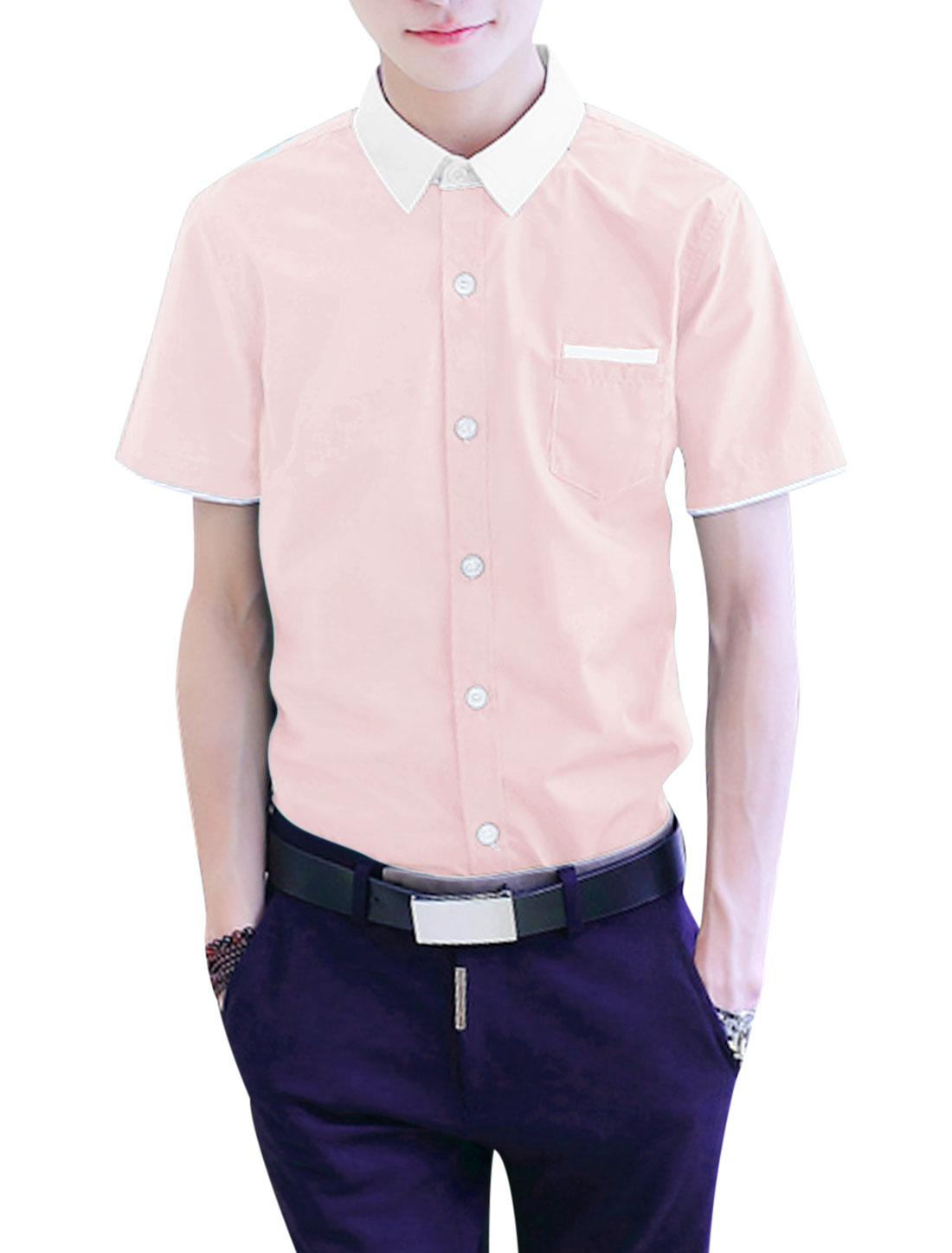 Men Button Down Pocket Short Sleeve Point Collar Slim Fit Casual Shirts Pink M
