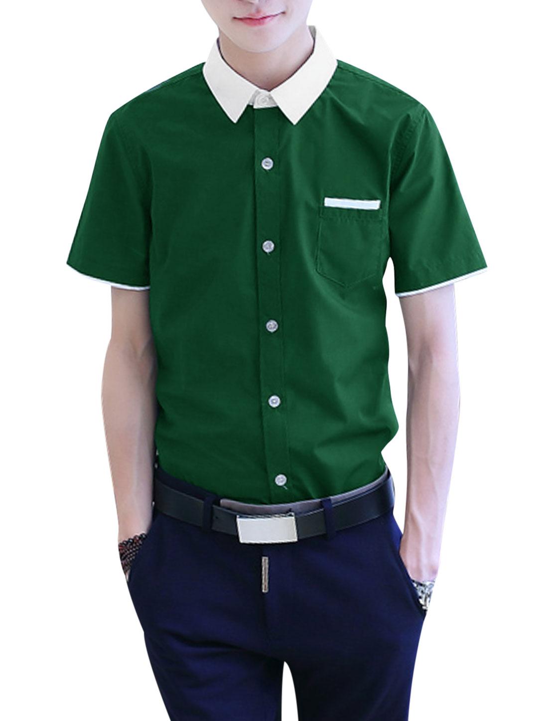 Men Button Down Pocket Short Sleeve Slim Fit Leisure Shirts Dark Green M