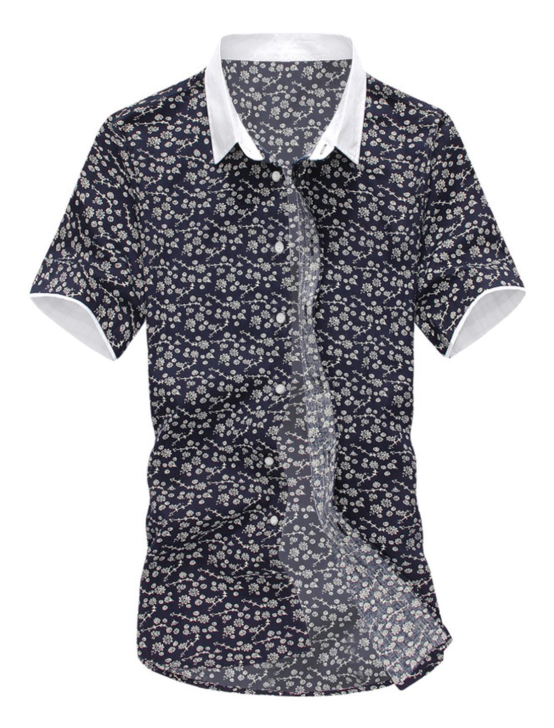 Men Floral Prints Short Sleeves Point Collar Casual Shirt Navy Blue Beige M