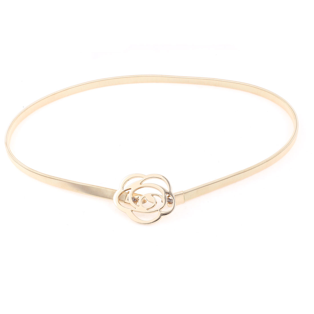 Flower Shape Interlocking Buckle Slim Waistband Waist Chain Gold Tone for Women