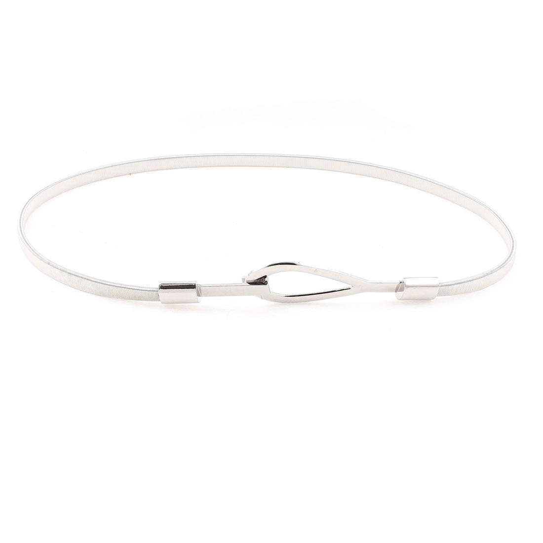 Interlocking Buckle Slim Waistband Waist Chain Silver Tone for Women