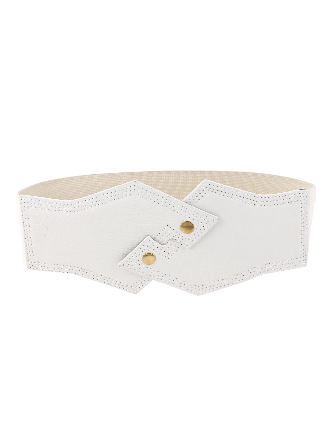 Lady Faux Leather Interlock Buckle Elastic Waist Belt Waistband White