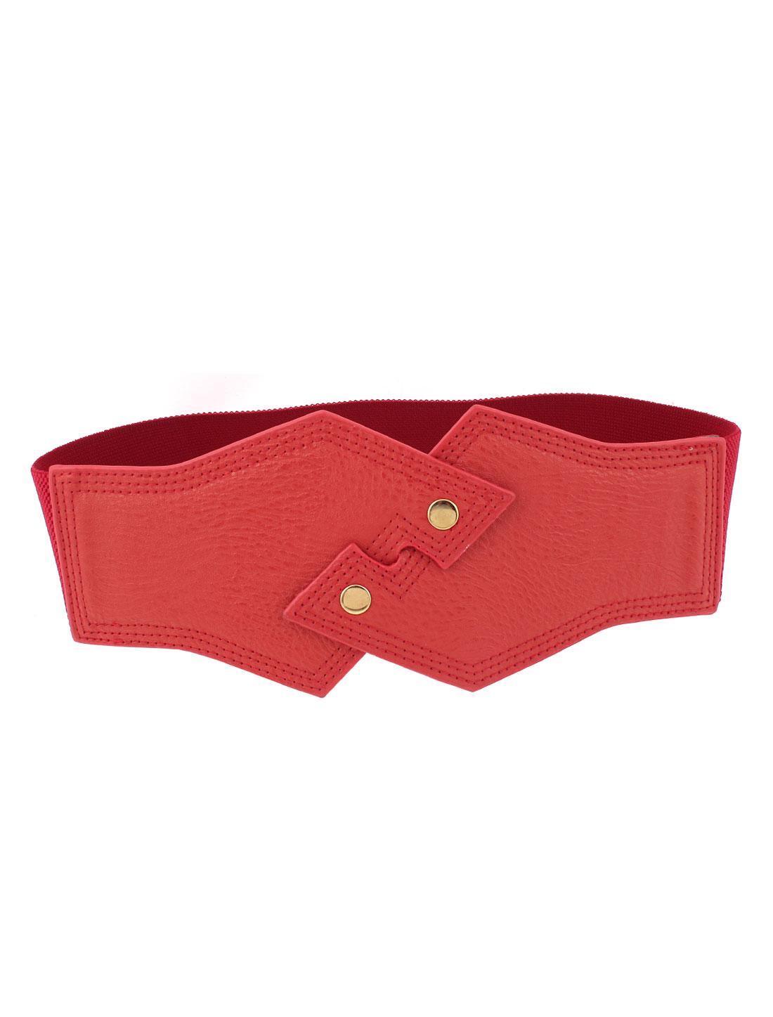 Lady Faux Leather Interlock Buckle Elastic Waist Belt Waistband Red